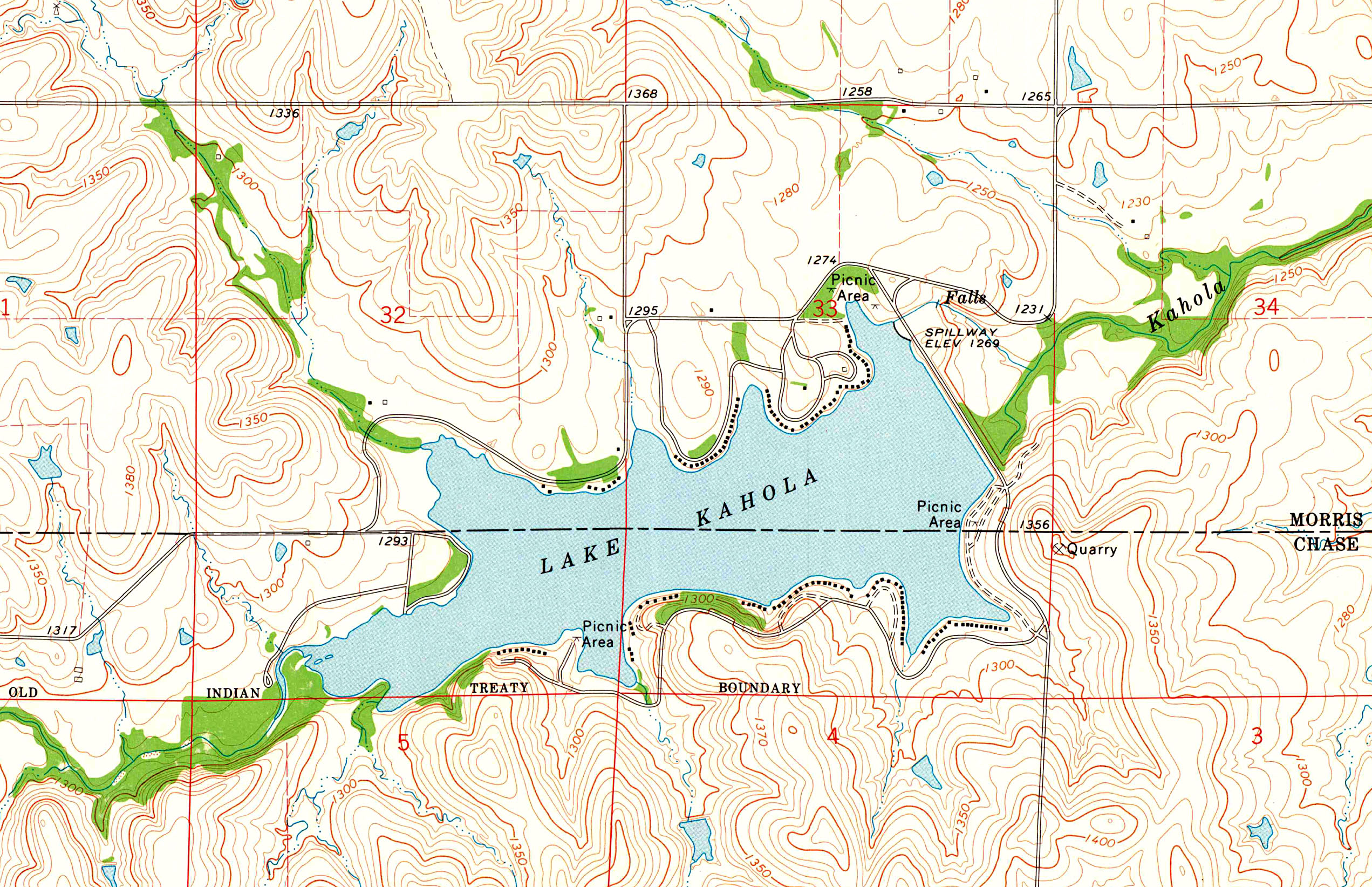 Lake Kahola Straddles The Chase Morris County Line, And An Old Indian  Treaty Boundary Runs Across The Southern Edge Of The Lake. Portion Of The  Lake Kahola, ...