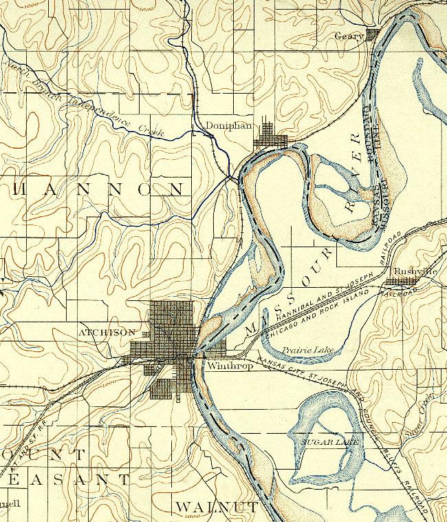 Atchison Kansas - Missouri river on a us map